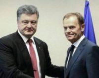 Порошенко обсудил с Туском ситуацию на Донбассе и миротворческую миссию ООН на оккупированных территориях